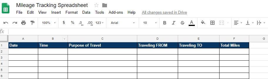 how to create an excel spreadsheet to track your mileage for your